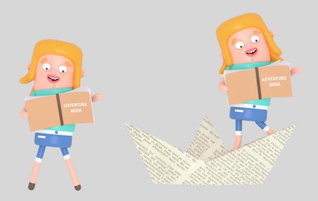 Girl reading inside paper boat. 3d illustration Stock Photo