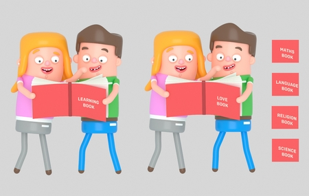 Kids reading a red book. 3d illustration