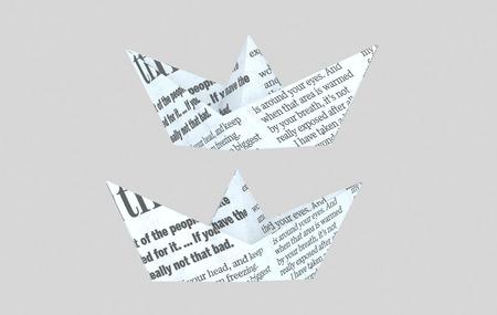 Newspaper paper boat. 3d illustration