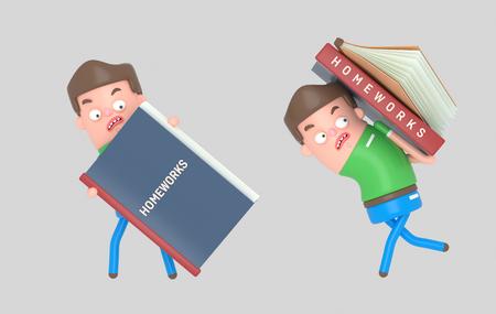 Boy carrying a homework book. 3d illustration