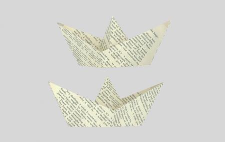 Letters paper boat. 3d illustration
