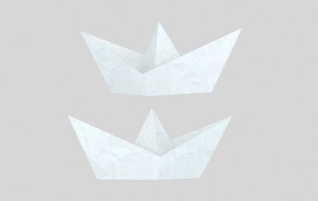 White paper boat. 3d illustration
