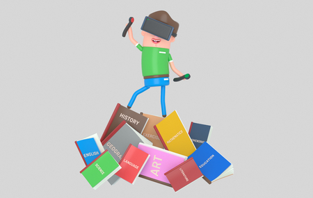 Student with virtual reality set standing on pile of books