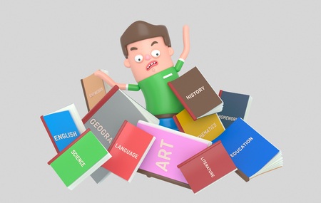 Scared Student under pile of books Stock Photo
