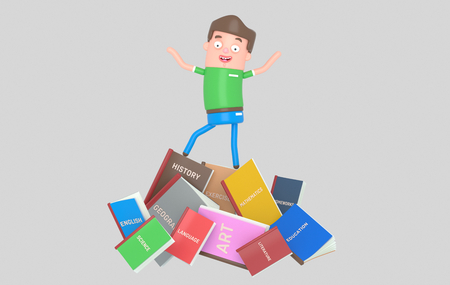 Student standing on pile of books