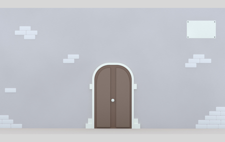 Facade door. 3d illustration
