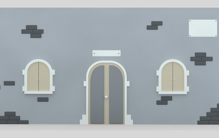 Facade door and Windows. 3d illustration Stock Photo