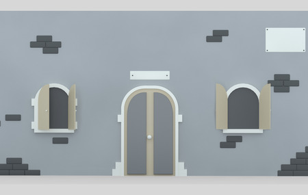 Facade door and opened windows. 3d illustration Stock Photo