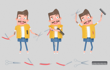 Hairdresser man. Barber man. 3d illustration Stock Photo