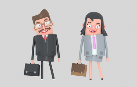Elegant couple business. Business people .. 3d illustration