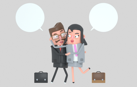 Elegant business couple in love.l. Shaking hands. 3d illustration