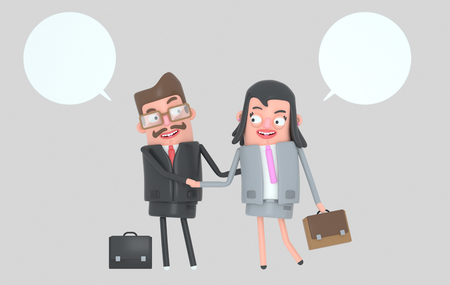 Business people having a deal. Shaking hands .. 3d illustration