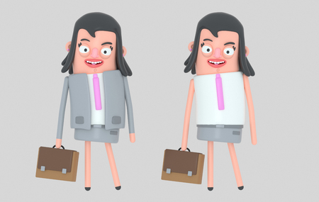 Modern beautiful businesswoman. 3d illustration