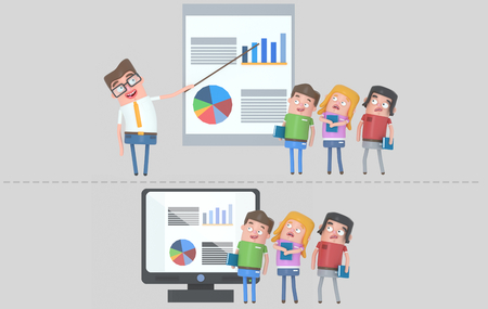 Distance learning vs. traditional learning. .3d illustration Stock Photo
