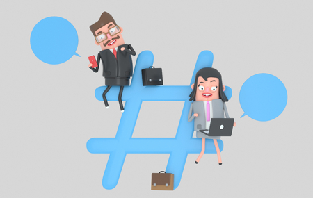 Businesspeople over hashtag internet symbol. 3d illustration