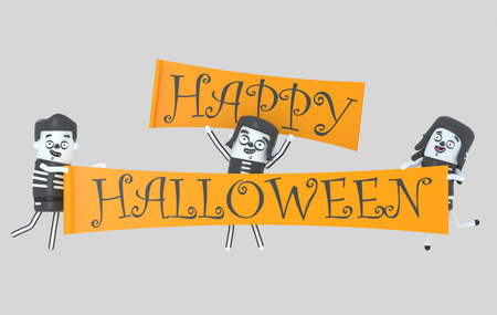 Young people in costumes holding halloween banner.3d illustration Stock Photo
