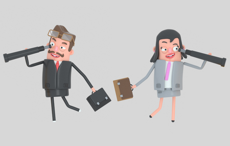 Business couple looking forward in a spyglasses.3d illustration Stock Photo
