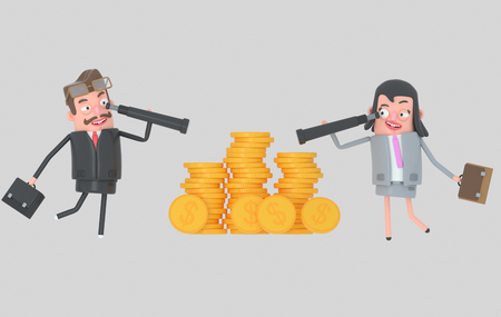Business couple watching money in a spyglasses.3d illustration Stock Photo