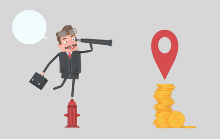 Business man in a fire hydrant watching money in a spyglass.3d illustration