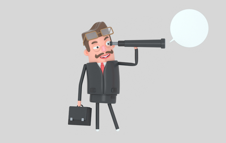 Business man standing and watching in a spyglass.3d illustration