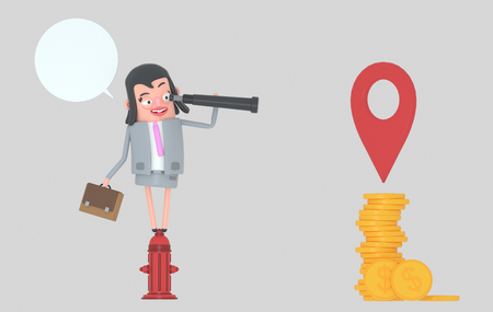 Business woman in a fire hydrant watching money in a spyglass.3d illustration