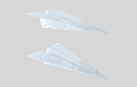 Paper plane. Airplane words. . 3d illustration