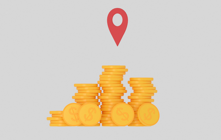 Mountain of money cash. Gps .. 3d illustration Stock Photo