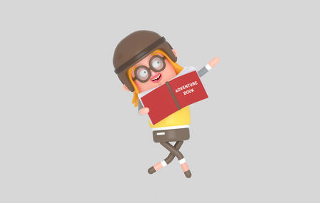 Young girl playing and reading with a big adventure book.3d illustration