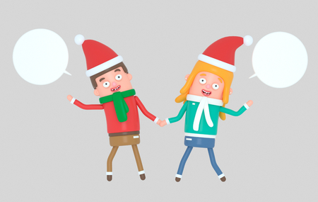 Young couple celebrating Christmas.3d illustration