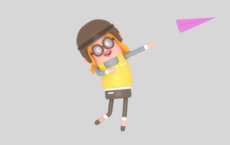 Happy Girl throwing paper plane.3d illustration Stock Photo