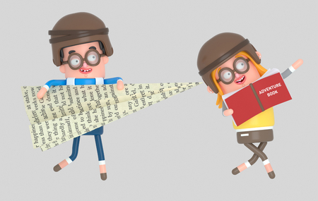 Children playing with a big paper plane and big adventure book.3d illustration