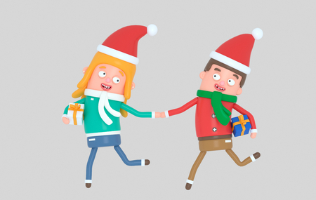 Christmas Young couple running with gifts.3d illustration Banco de Imagens