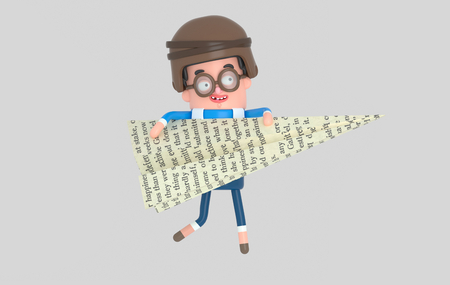 Young boy playing with a big adventure book.3d illustration