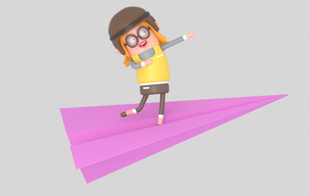 Happy girl flying in a paper plane. 3d illustration