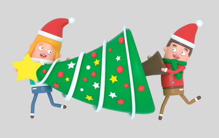 Christmas Young couple in love carrying a tree for Christmas.3d illustration