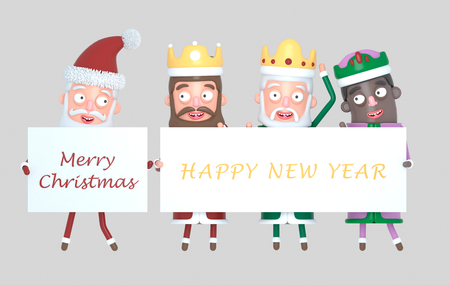 Three Magic Kings and Santa Claus holding a placard with Greetings. Isolated. 3d illustration Banco de Imagens