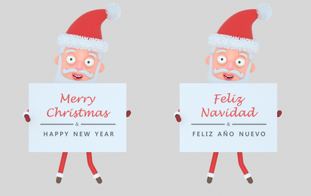 Santa Claus holding placard with greeting. Isolated. 3d illustration