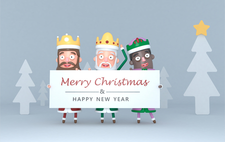 Three Magic Kings holding a placard with Greetings. 3d illustration