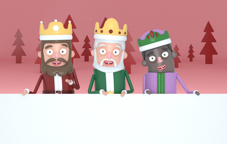Three magic kings holding a big white placards in a red forest. 3d illustration