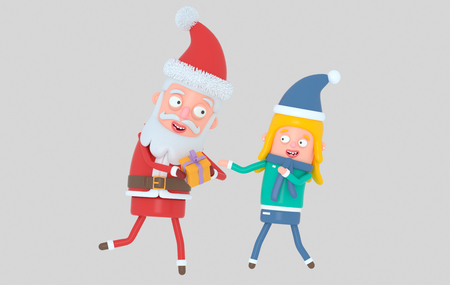 Santa Claus giving a gift to girl. Isolated.3d illustration Banco de Imagens