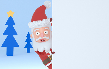 Santa Claus holding a big white placards in a forest. 3d illustration