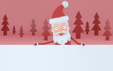 Santa Claus holding a big white placards in a red forest. 3d illustration Stock Photo