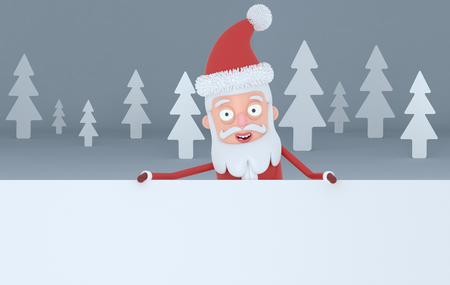 Santa Claus holding a big white placards in a gray forest. 3d illustration Stock Photo