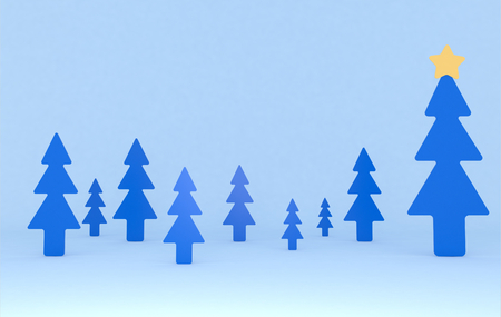 Blue pines background scene. Set. 3d illustration