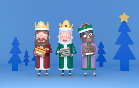 Three Magic King standing on a blue scene with trees. Isolated.3d illustration Banco de Imagens