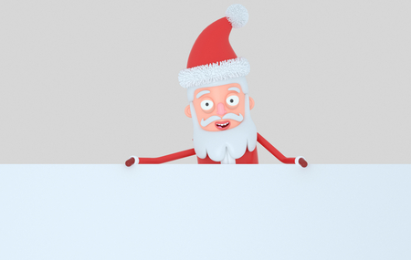 Santa Claus holding a big white banner. Isolated. 3d illustration