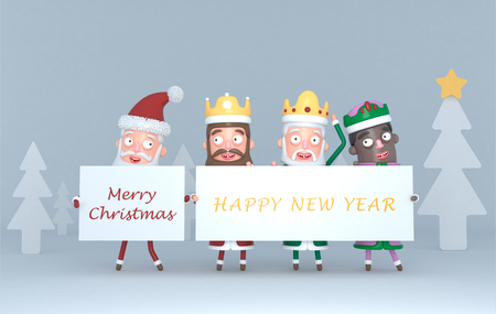 Three Magic Kings and Santa Claus holding a placard with Greetings .. 3d illustration