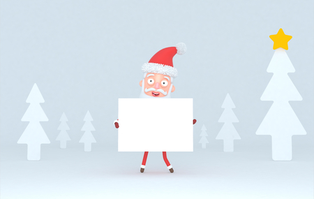 Santa Claus holding a white placard in a forest. Isolated.3d illustration