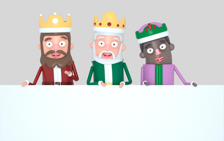 Three Magic Kings holding a White placard. Isolated .. 3d illustration Banco de Imagens