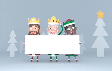 Three Magic Kings holding a white placard in a forest. Isolated .. 3d illustration